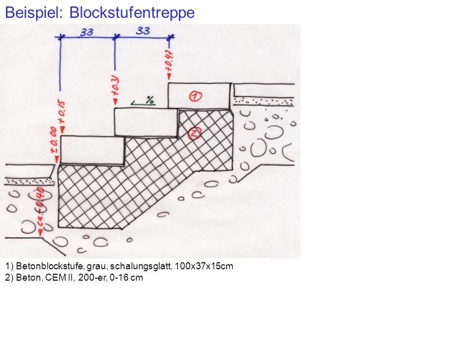 Beispiel: Blockstufentreppe 1) Betonblockstufe, grau, schalungsglatt, 100x37x15cm 2) Beton, CEM II, 200-er, 0-16 cm