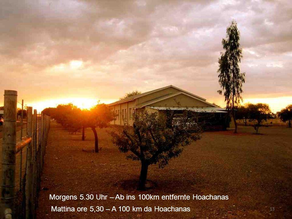 Morgens 5.30 Uhr – Ab ins 100km entfernte Hoachanas 13 Mattina ore 5,30 – A 100 km da Hoachanas