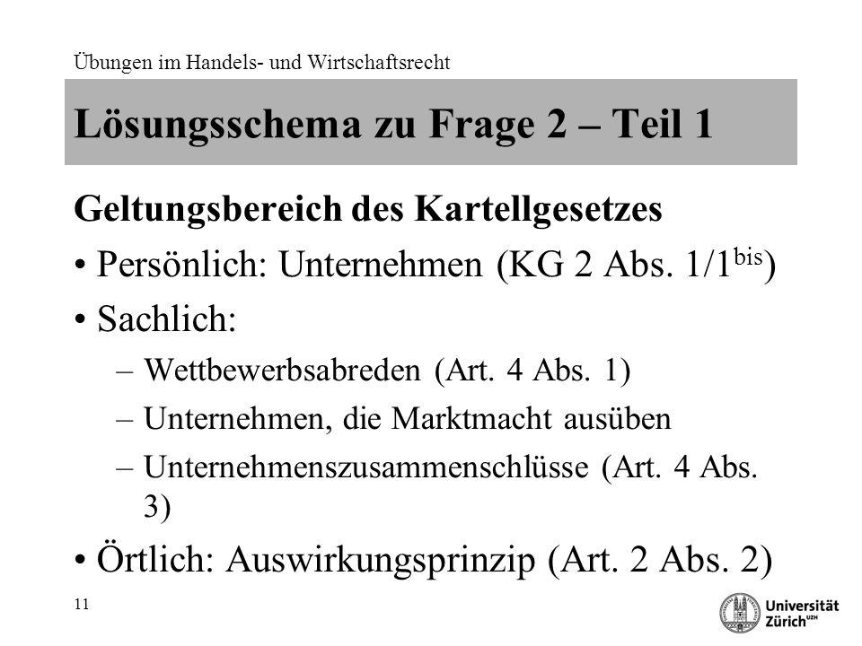 Übungen im Handels- und Wirtschaftsrecht 11 Lösungsschema zu Frage 2 – Teil 1 Geltungsbereich des Kartellgesetzes Persönlich: Unternehmen (KG 2 Abs.
