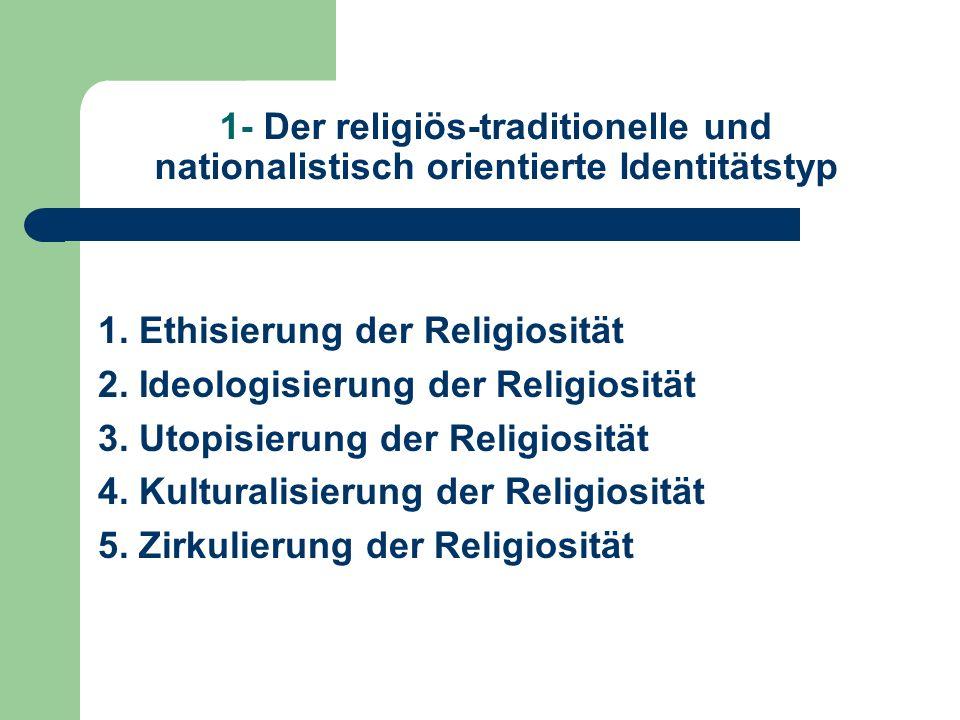 1- Der religiös-traditionelle und nationalistisch orientierte Identitätstyp 1. Ethisierung der Religiosität 2. Ideologisierung der Religiosität 3. Uto