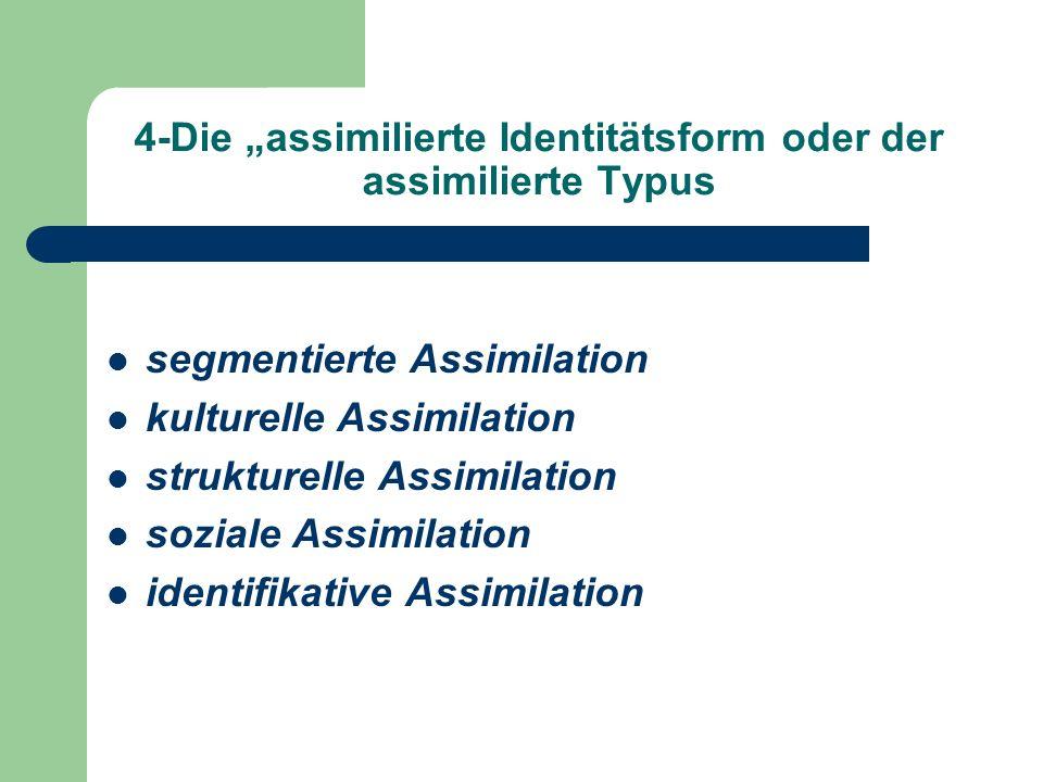 4-Die assimilierte Identitätsform oder der assimilierte Typus segmentierte Assimilation kulturelle Assimilation strukturelle Assimilation soziale Assi