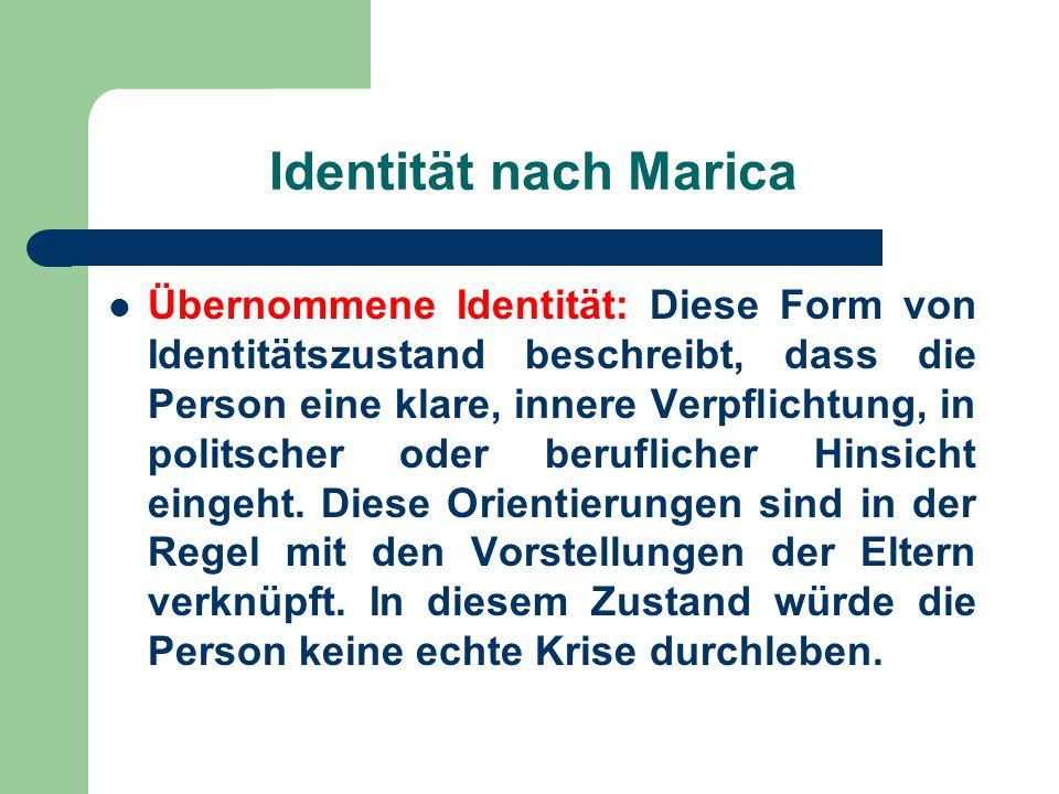 Identität nach Marica Übernommene Identität: Diese Form von Identitätszustand beschreibt, dass die Person eine klare, innere Verpflichtung, in politsc