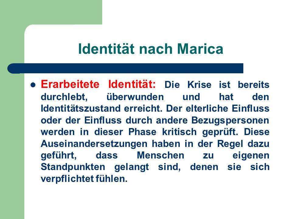Identität nach Marica Erarbeitete Identität: Die Krise ist bereits durchlebt, überwunden und hat den Identitätszustand erreicht. Der elterliche Einflu