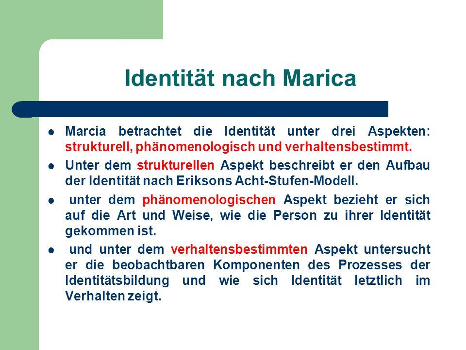 Identität nach Marica Marcia betrachtet die Identität unter drei Aspekten: strukturell, phänomenologisch und verhaltensbestimmt. Unter dem strukturell