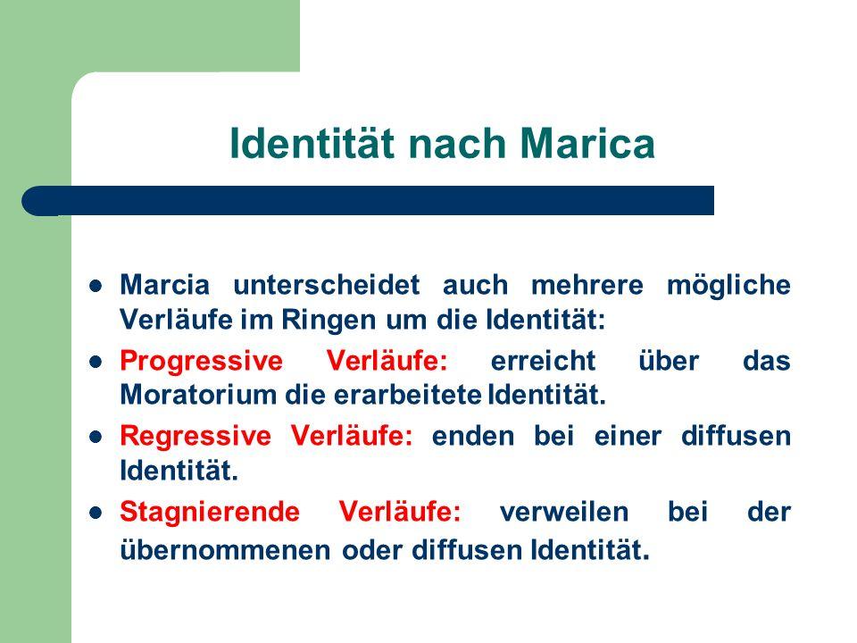 Identität nach Marica Marcia unterscheidet auch mehrere mögliche Verläufe im Ringen um die Identität: Progressive Verläufe: erreicht über das Moratori