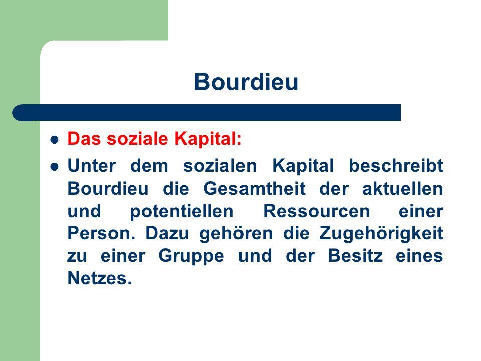 Bourdieu Das soziale Kapital: Unter dem sozialen Kapital beschreibt Bourdieu die Gesamtheit der aktuellen und potentiellen Ressourcen einer Person. Da
