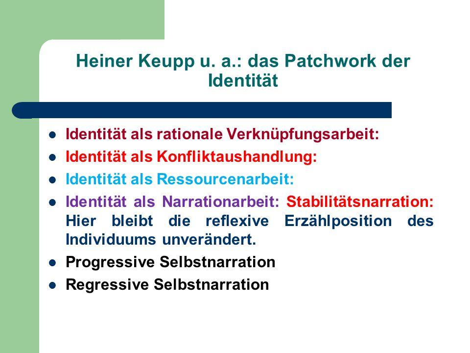 Heiner Keupp u. a.: das Patchwork der Identität Identität als rationale Verknüpfungsarbeit: Identität als Konfliktaushandlung: Identität als Ressource