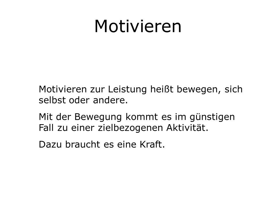 Motivieren Motivieren zur Leistung heißt bewegen, sich selbst oder andere. Mit der Bewegung kommt es im günstigen Fall zu einer zielbezogenen Aktivitä