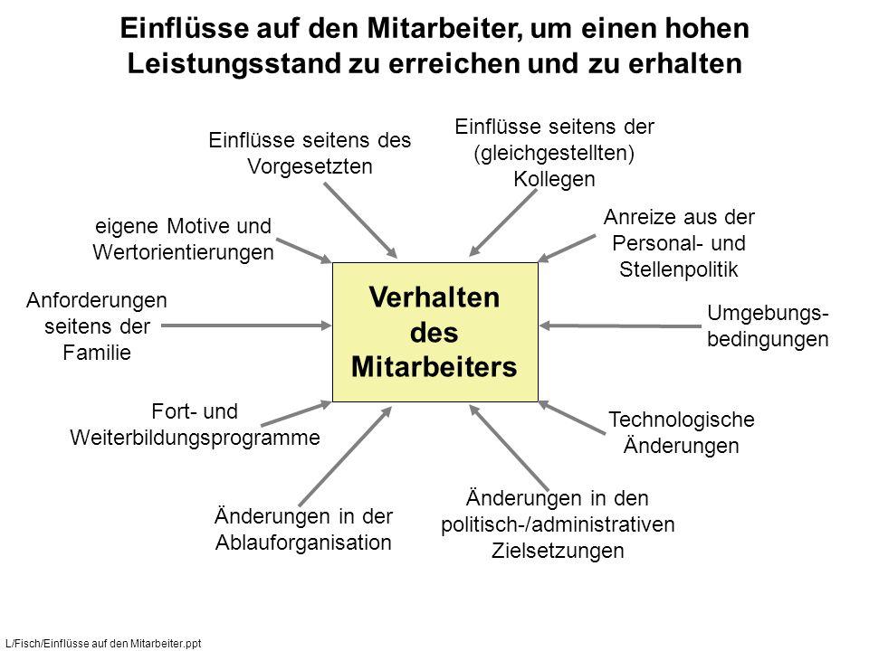 Verhalten des Mitarbeiters Einflüsse seitens des Vorgesetzten Einflüsse seitens der (gleichgestellten) Kollegen Anforderungen seitens der Familie Umge