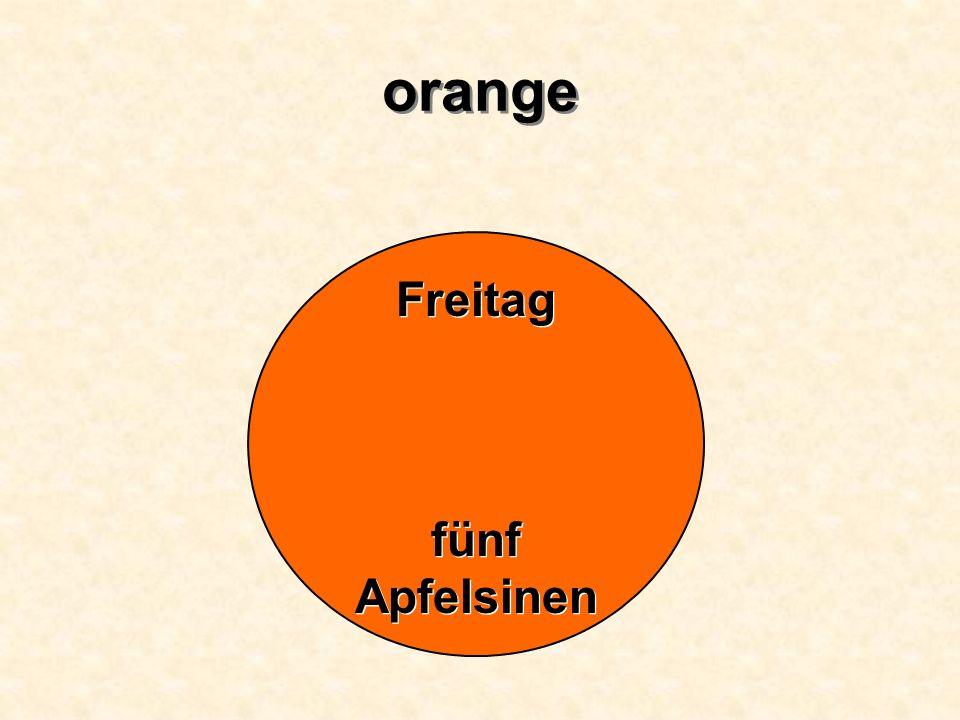 orange Freitag fünf Apfelsinen