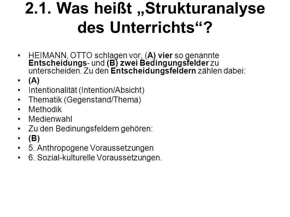 2.1.Was heißt Strukturanalyse des Unterrichts.