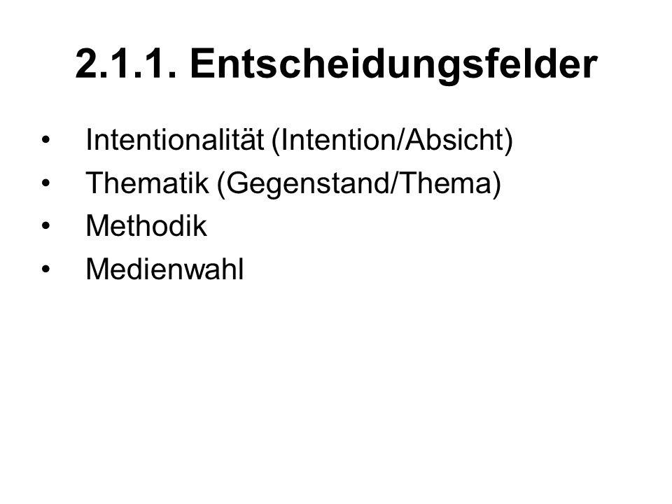 2.1.1. Entscheidungsfelder Intentionalität (Intention/Absicht) Thematik (Gegenstand/Thema) Methodik Medienwahl