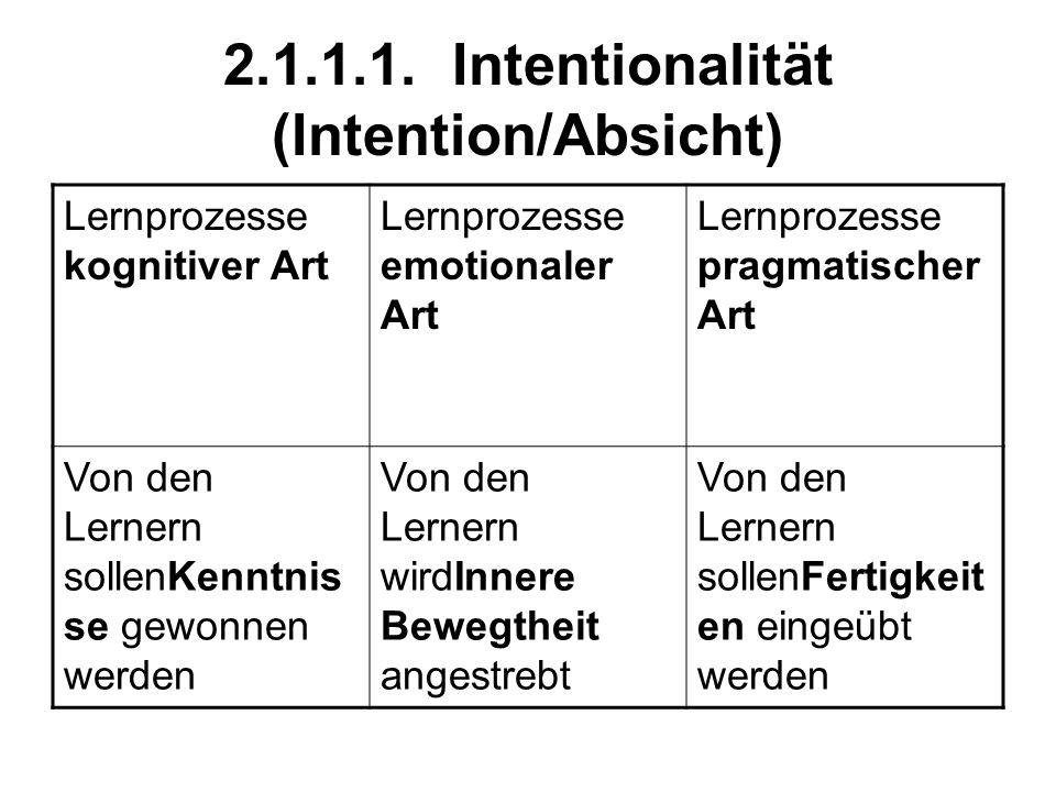 2.1.1.1. Intentionalität (Intention/Absicht) Lernprozesse kognitiver Art Lernprozesse emotionaler Art Lernprozesse pragmatischer Art Von den Lernern s
