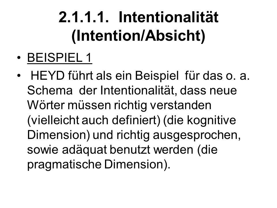 2.1.1.1. Intentionalität (Intention/Absicht) BEISPIEL 1 HEYD führt als ein Beispiel für das o. a. Schema der Intentionalität, dass neue Wörter müssen