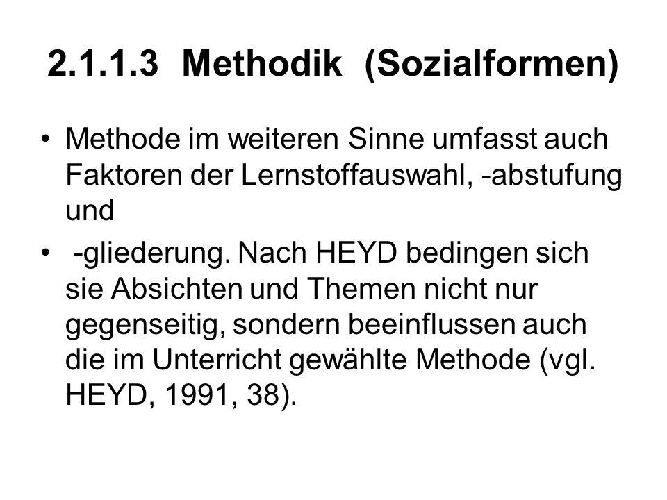 2.1.1.3 Methodik (Sozialformen) Methode im weiteren Sinne umfasst auch Faktoren der Lernstoffauswahl, -abstufung und -gliederung. Nach HEYD bedingen s