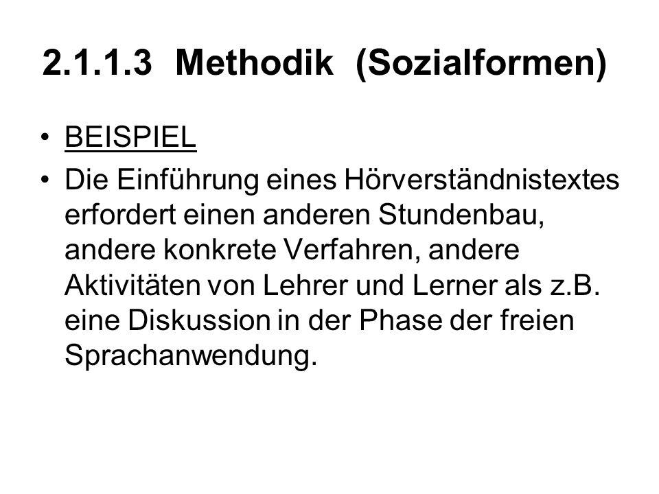 2.1.1.3 Methodik (Sozialformen) BEISPIEL Die Einführung eines Hörverständnistextes erfordert einen anderen Stundenbau, andere konkrete Verfahren, ande