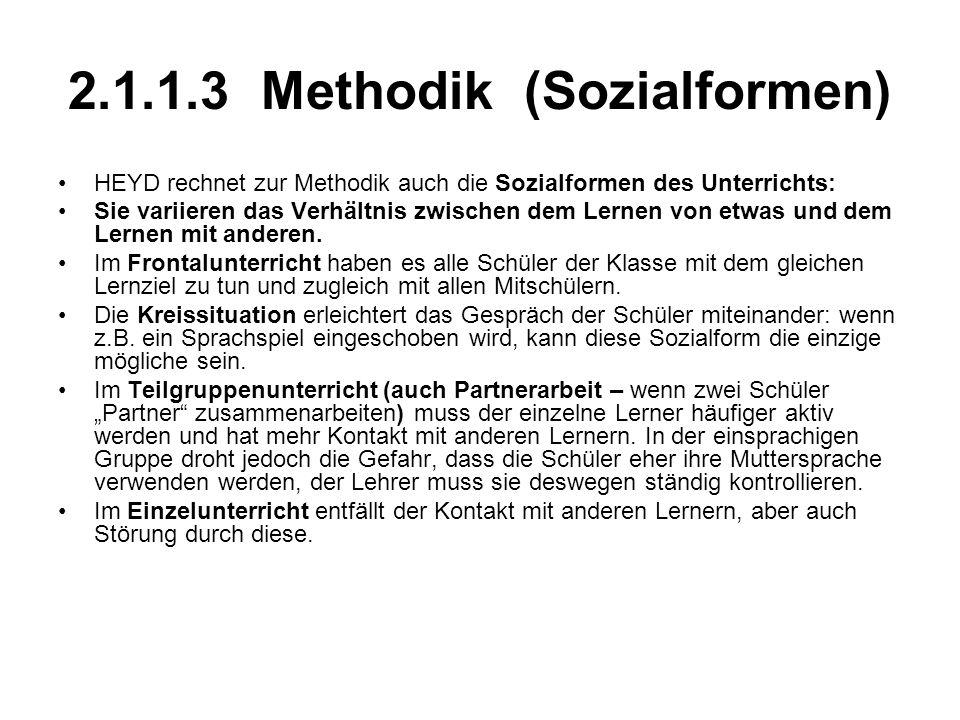 2.1.1.3 Methodik (Sozialformen) HEYD rechnet zur Methodik auch die Sozialformen des Unterrichts: Sie variieren das Verhältnis zwischen dem Lernen von etwas und dem Lernen mit anderen.