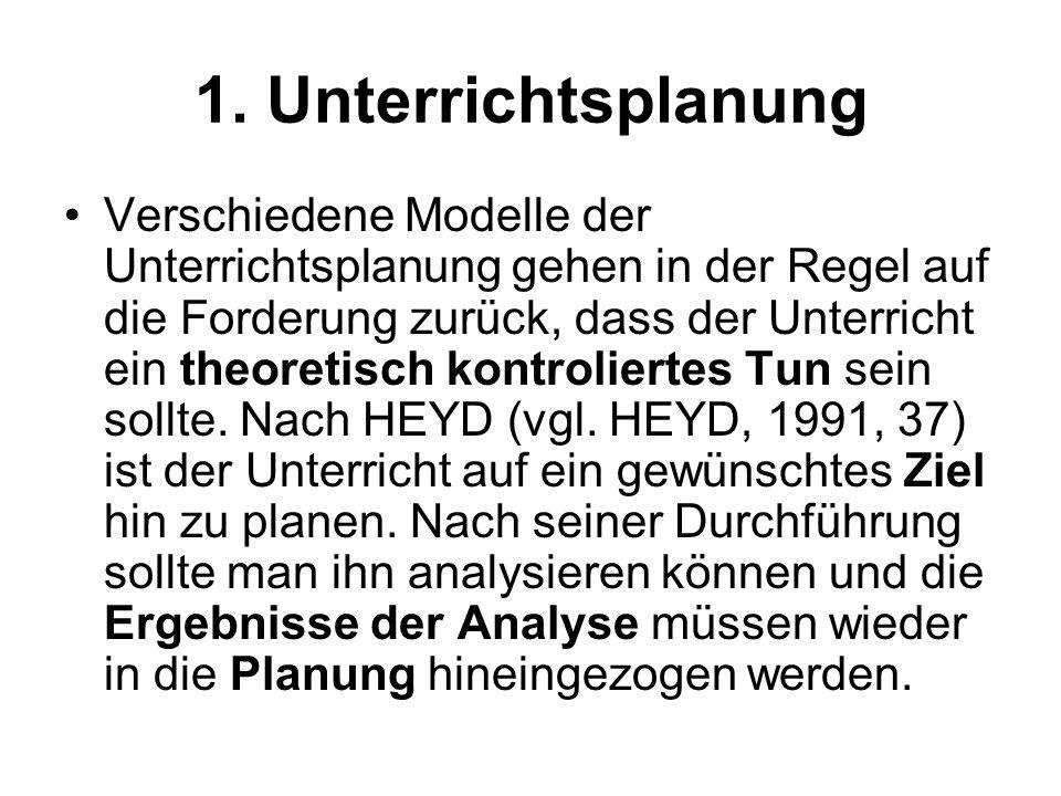 1. Unterrichtsplanung Verschiedene Modelle der Unterrichtsplanung gehen in der Regel auf die Forderung zurück, dass der Unterricht ein theoretisch kon