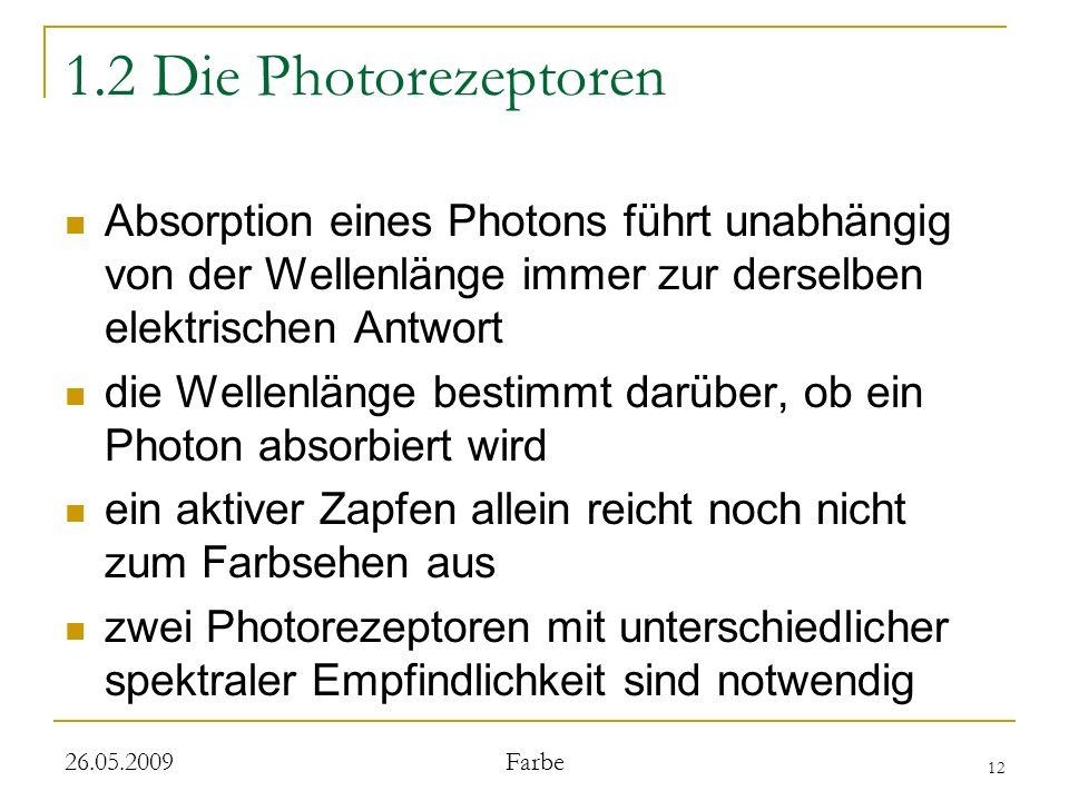 12 26.05.2009 Farbe 1.2 Die Photorezeptoren Absorption eines Photons führt unabhängig von der Wellenlänge immer zur derselben elektrischen Antwort die Wellenlänge bestimmt darüber, ob ein Photon absorbiert wird ein aktiver Zapfen allein reicht noch nicht zum Farbsehen aus zwei Photorezeptoren mit unterschiedlicher spektraler Empfindlichkeit sind notwendig
