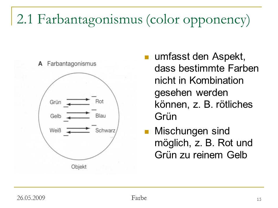 15 26.05.2009 Farbe 2.1 Farbantagonismus (color opponency) umfasst den Aspekt, dass bestimmte Farben nicht in Kombination gesehen werden können, z. B.