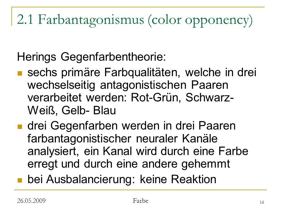 16 26.05.2009 Farbe 2.1 Farbantagonismus (color opponency) Herings Gegenfarbentheorie: sechs primäre Farbqualitäten, welche in drei wechselseitig antagonistischen Paaren verarbeitet werden: Rot-Grün, Schwarz- Weiß, Gelb- Blau drei Gegenfarben werden in drei Paaren farbantagonistischer neuraler Kanäle analysiert, ein Kanal wird durch eine Farbe erregt und durch eine andere gehemmt bei Ausbalancierung: keine Reaktion