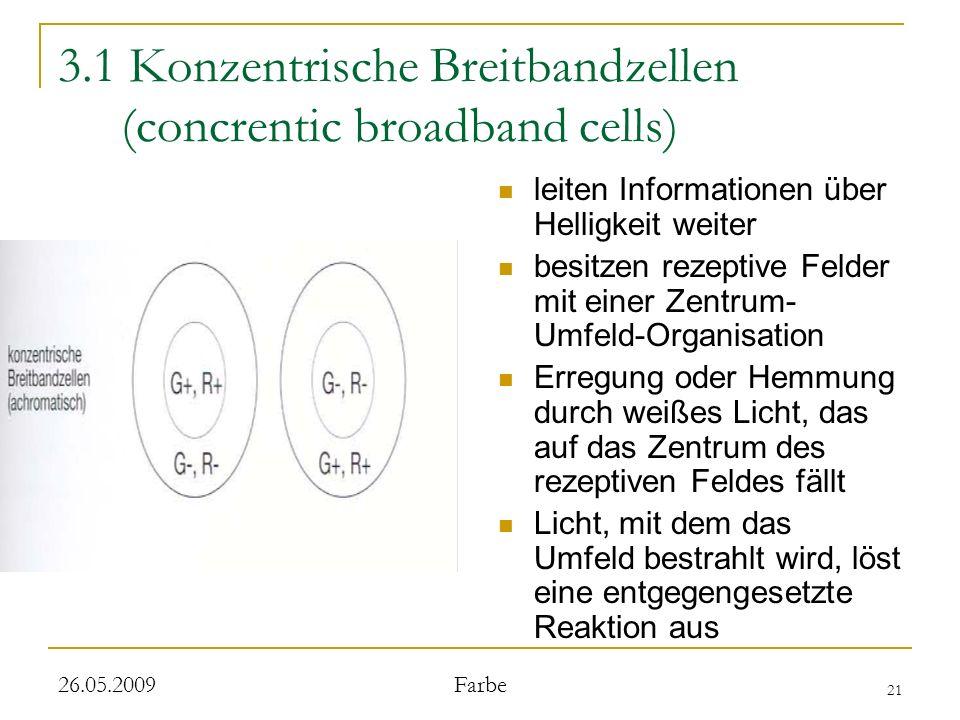 21 26.05.2009 Farbe 3.1 Konzentrische Breitbandzellen (concrentic broadband cells) leiten Informationen über Helligkeit weiter besitzen rezeptive Felder mit einer Zentrum- Umfeld-Organisation Erregung oder Hemmung durch weißes Licht, das auf das Zentrum des rezeptiven Feldes fällt Licht, mit dem das Umfeld bestrahlt wird, löst eine entgegengesetzte Reaktion aus