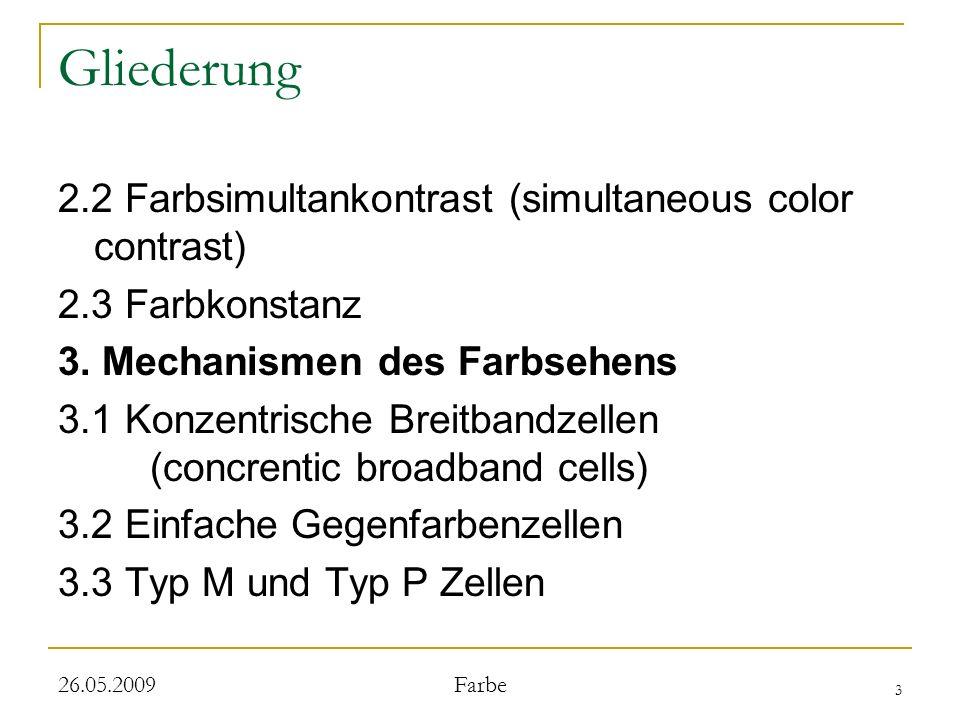 4 26.05.2009 Farbe Gliederung 3.4 Doppelte Geganfarbenzellen 3.5 Das corticale Areal V4 3.6 Farbenblindheit 4.