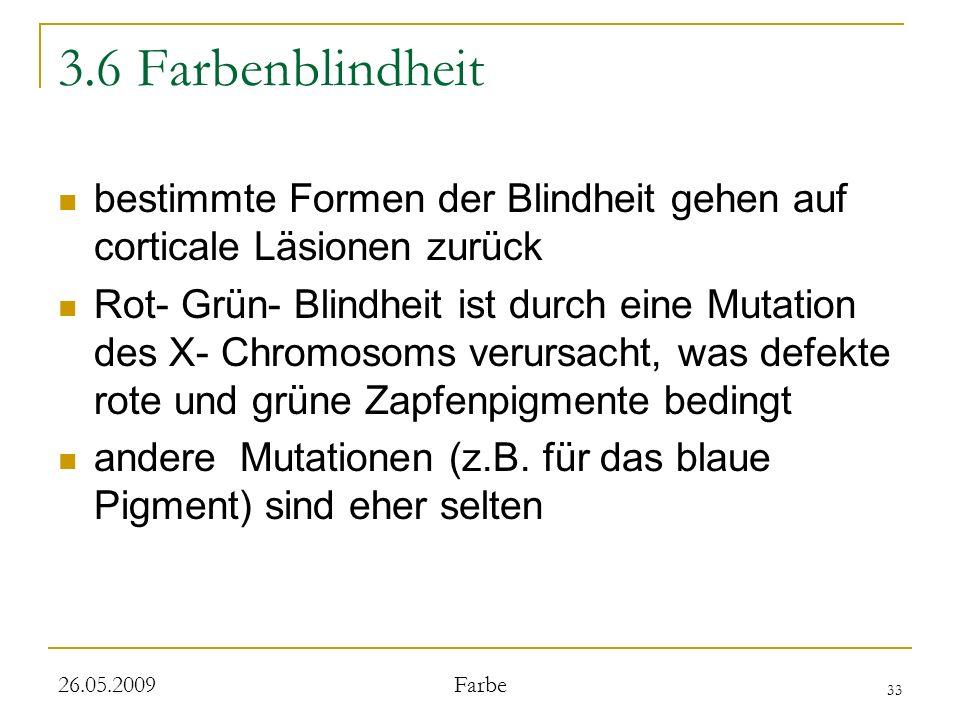 33 26.05.2009 Farbe 3.6 Farbenblindheit bestimmte Formen der Blindheit gehen auf corticale Läsionen zurück Rot- Grün- Blindheit ist durch eine Mutation des X- Chromosoms verursacht, was defekte rote und grüne Zapfenpigmente bedingt andere Mutationen (z.B.