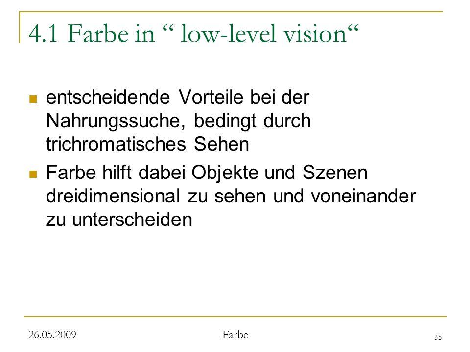 35 26.05.2009 Farbe 4.1 Farbe in low-level vision entscheidende Vorteile bei der Nahrungssuche, bedingt durch trichromatisches Sehen Farbe hilft dabei