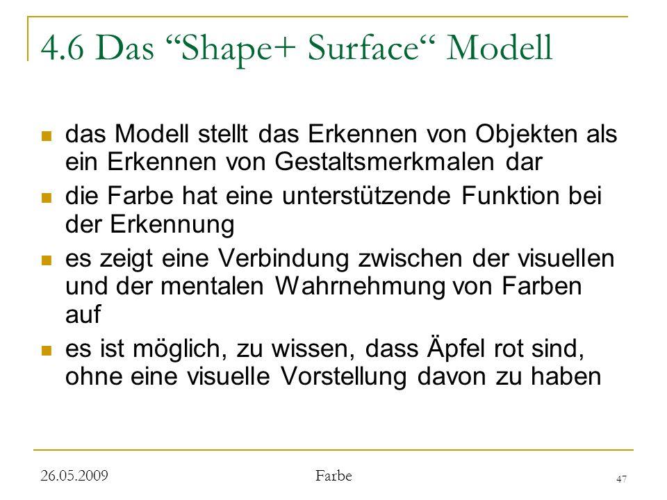 47 26.05.2009 Farbe 4.6 Das Shape+ Surface Modell das Modell stellt das Erkennen von Objekten als ein Erkennen von Gestaltsmerkmalen dar die Farbe hat eine unterstützende Funktion bei der Erkennung es zeigt eine Verbindung zwischen der visuellen und der mentalen Wahrnehmung von Farben auf es ist möglich, zu wissen, dass Äpfel rot sind, ohne eine visuelle Vorstellung davon zu haben