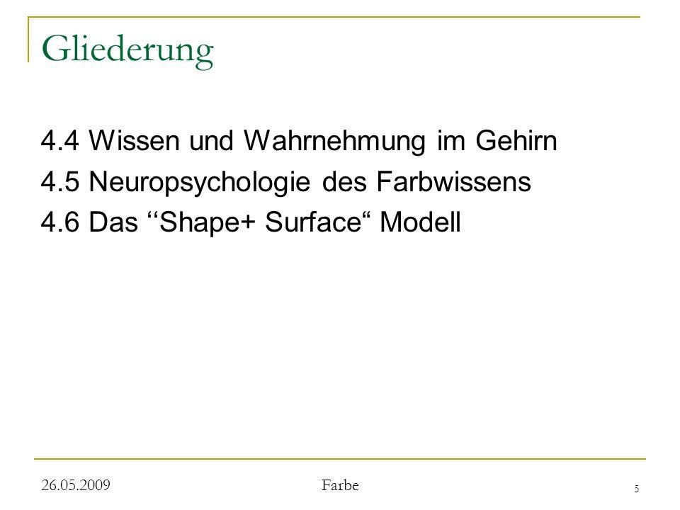 5 26.05.2009 Farbe Gliederung 4.4 Wissen und Wahrnehmung im Gehirn 4.5 Neuropsychologie des Farbwissens 4.6 Das Shape+ Surface Modell