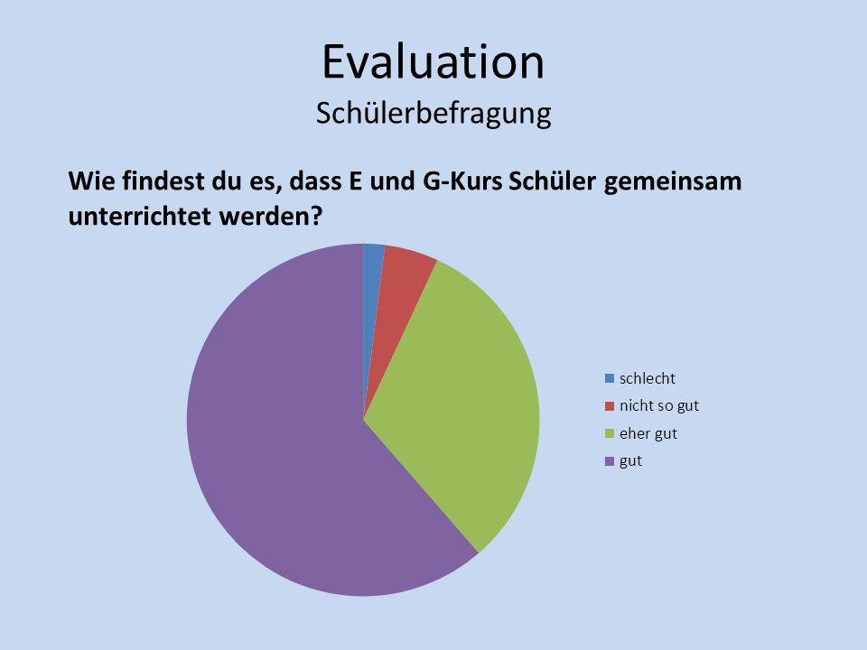 Evaluation Schülerbefragung Wie findest du es, dass E und G-Kurs Schüler gemeinsam unterrichtet werden?