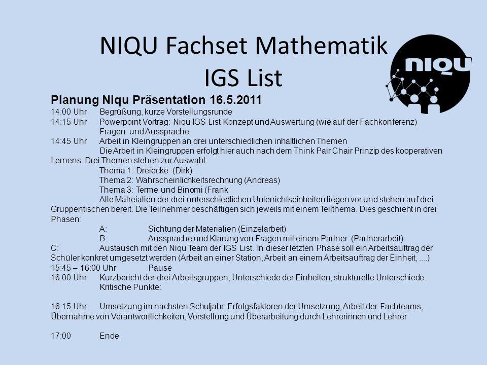 NIQU Fachset Mathematik IGS List Planung Niqu Präsentation 16.5.2011 14:00 UhrBegrüßung, kurze Vorstellungsrunde 14:15 UhrPowerpoint Vortrag: Niqu IGS