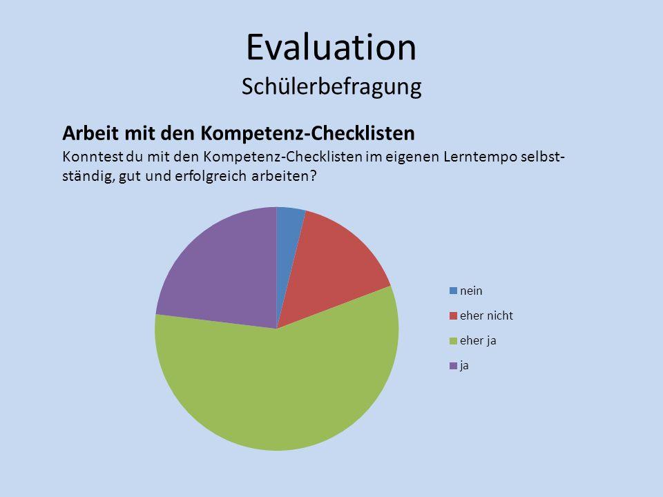 Evaluation Schülerbefragung Arbeit mit den Kompetenz-Checklisten Konntest du mit den Kompetenz-Checklisten im eigenen Lerntempo selbst- ständig, gut u