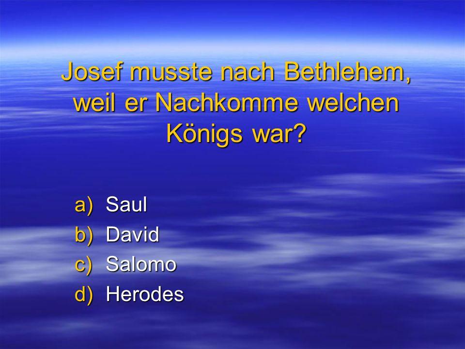Josef musste nach Bethlehem, weil er Nachkomme welchen Königs war? a)Saul b)David c)Salomo d)Herodes