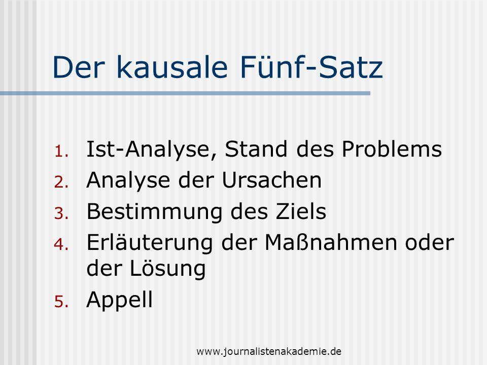www.journalistenakademie.de Der kausale Fünf-Satz 1. Ist-Analyse, Stand des Problems 2. Analyse der Ursachen 3. Bestimmung des Ziels 4. Erläuterung de