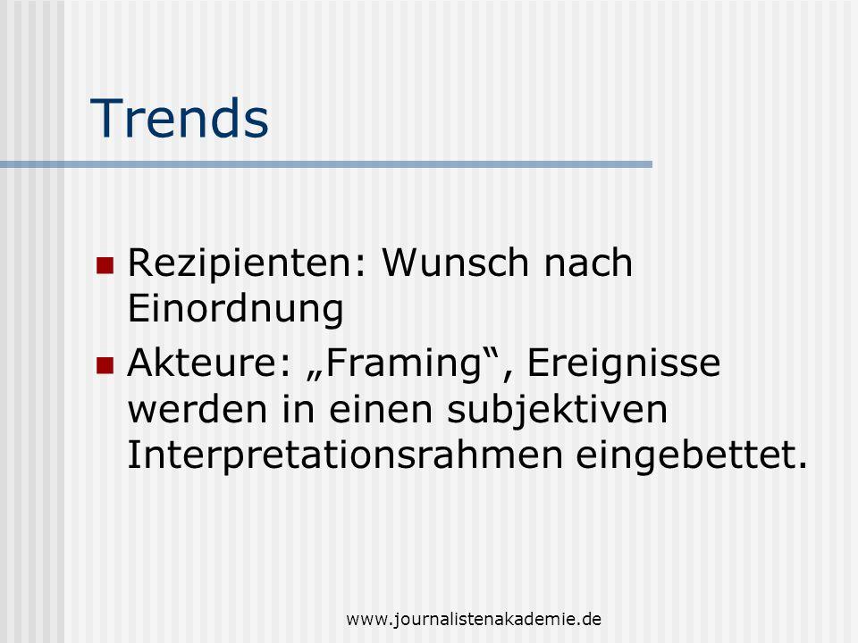 www.journalistenakademie.de Trends Rezipienten: Wunsch nach Einordnung Akteure: Framing, Ereignisse werden in einen subjektiven Interpretationsrahmen