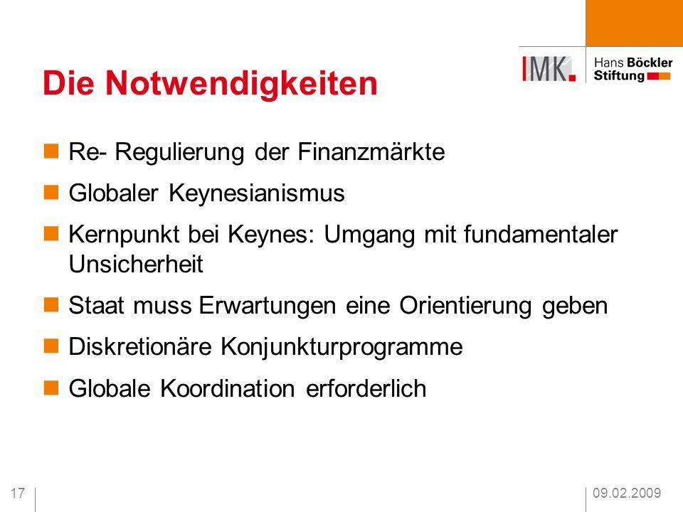 09.02.200917 Die Notwendigkeiten Re- Regulierung der Finanzmärkte Globaler Keynesianismus Kernpunkt bei Keynes: Umgang mit fundamentaler Unsicherheit