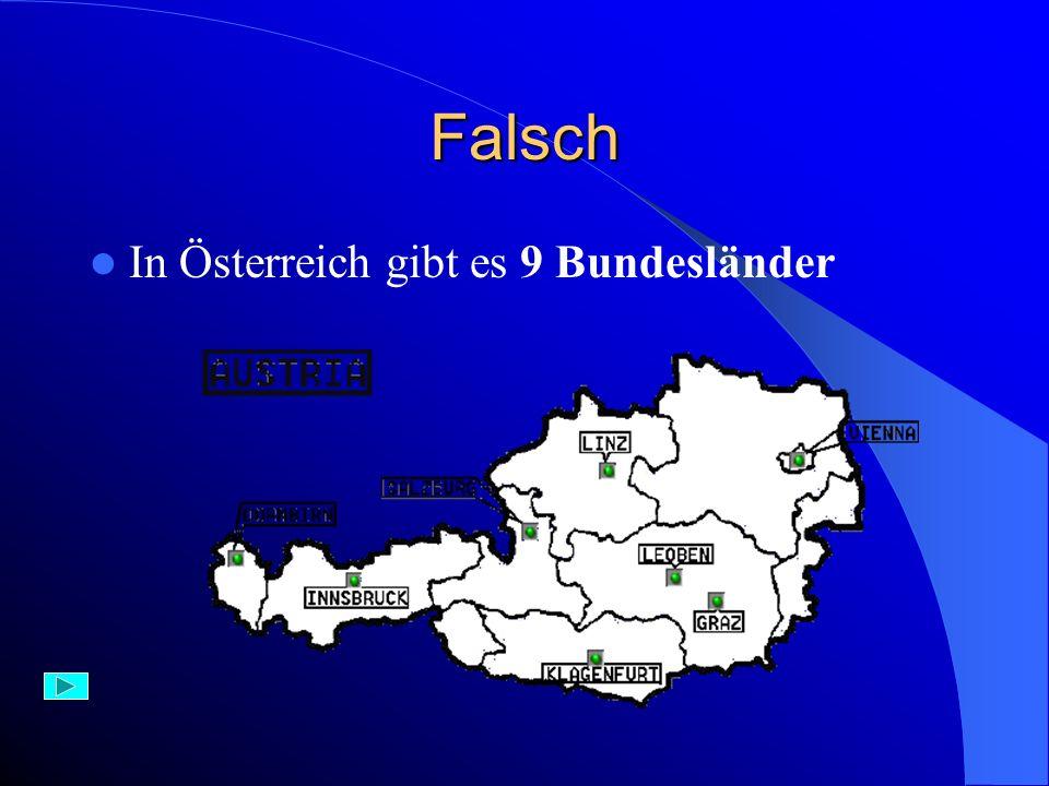 Richtig – 1 Punkt In Österreich gibt es 9 Bundesländer