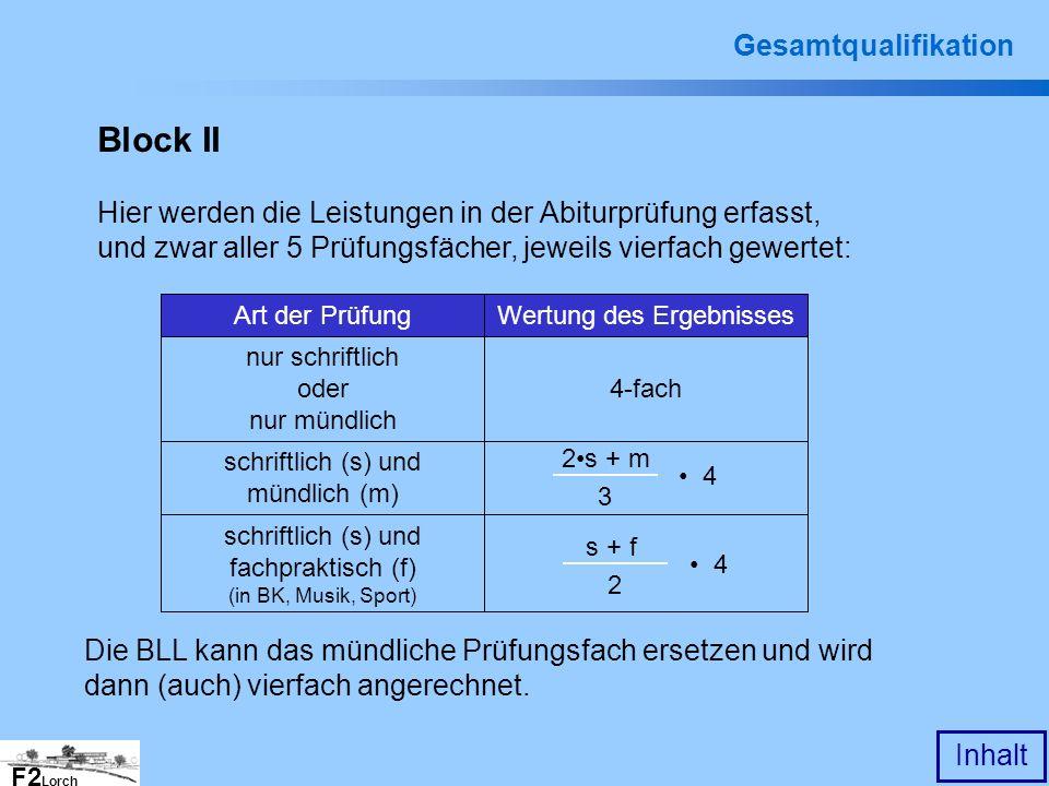 F2 Lorch Inhalt Gesamtqualifikation Block II Hier werden die Leistungen in der Abiturprüfung erfasst, und zwar aller 5 Prüfungsfächer, jeweils vierfac