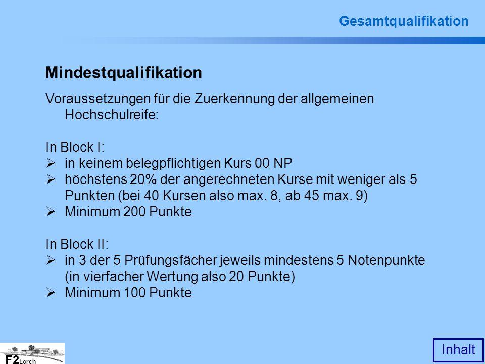 F2 Lorch Inhalt Gesamtqualifikation Mindestqualifikation Voraussetzungen für die Zuerkennung der allgemeinen Hochschulreife: In Block I: in keinem bel