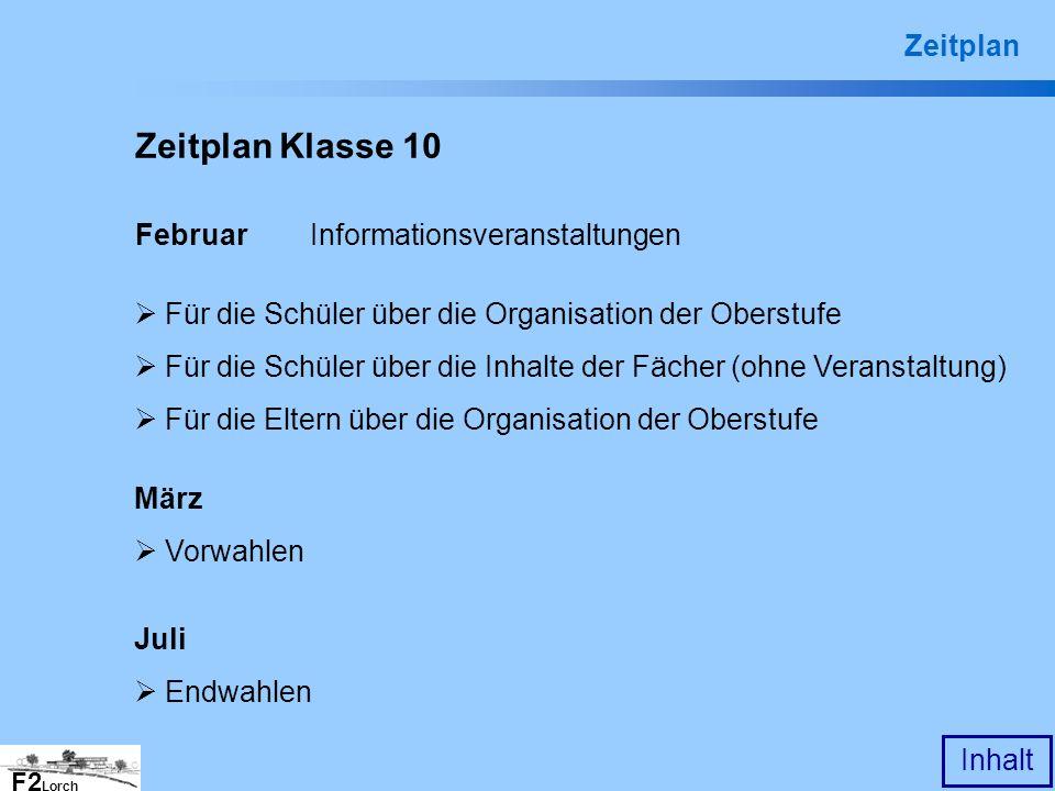 F2 Lorch Inhalt Zeitplan Klasse 10 Februar Informationsveranstaltungen März Vorwahlen Juli Endwahlen Für die Schüler über die Organisation der Oberstu