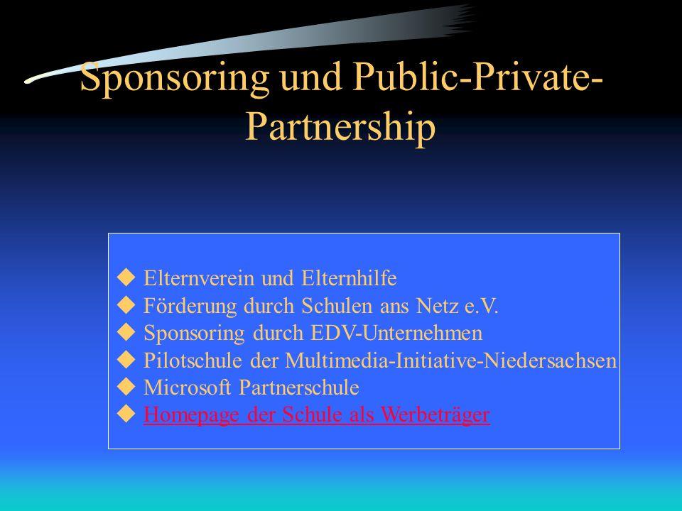 Sponsoring und Public-Private- Partnership Elternverein und Elternhilfe Förderung durch Schulen ans Netz e.V. Sponsoring durch EDV-Unternehmen Pilotsc