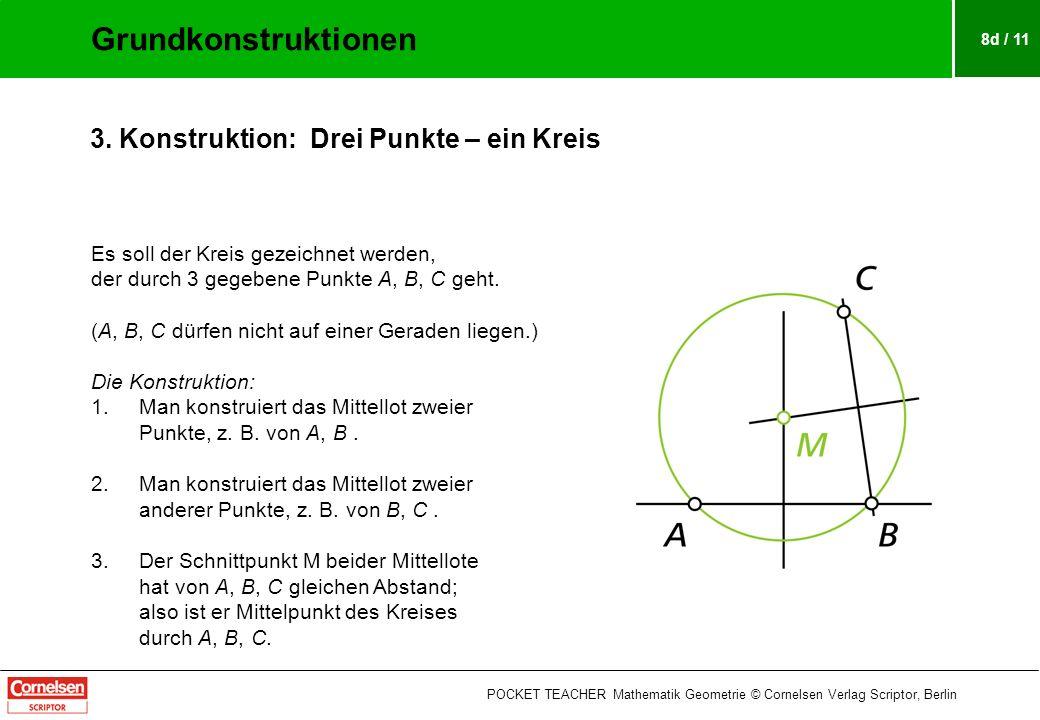 8d / 11 Es soll der Kreis gezeichnet werden, der durch 3 gegebene Punkte A, B, C geht.