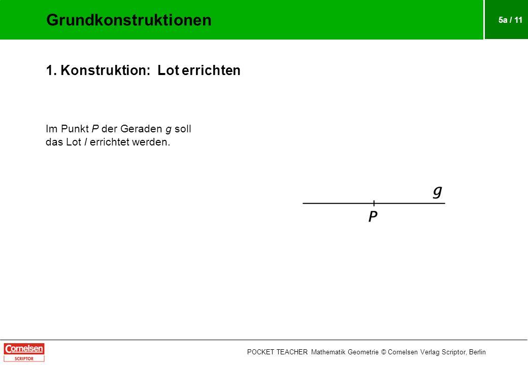 5a / 11 1.Konstruktion: Lot errichten Im Punkt P der Geraden g soll das Lot l errichtet werden.