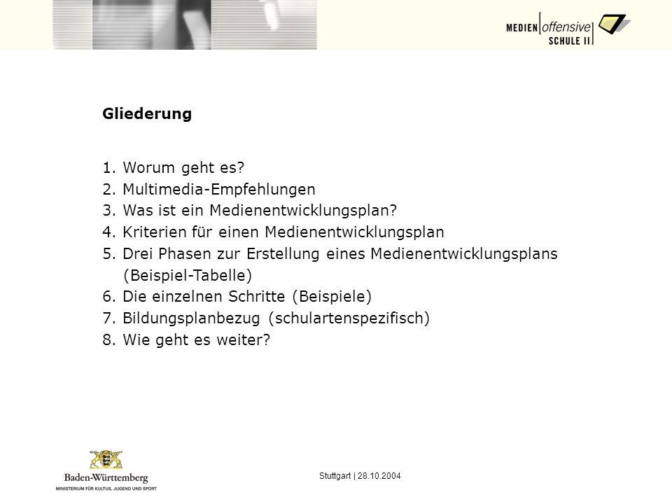 Stuttgart | 28.10.2004 6. Die einzelnen Schritte: a) Leitfragen