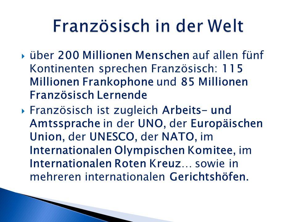 über 200 Millionen Menschen auf allen fünf Kontinenten sprechen Französisch: 115 Millionen Frankophone und 85 Millionen Französisch Lernende Französisch ist zugleich Arbeits- und Amtssprache in der UNO, der Europäischen Union, der UNESCO, der NATO, im Internationalen Olympischen Komitee, im Internationalen Roten Kreuz… sowie in mehreren internationalen Gerichtshöfen.