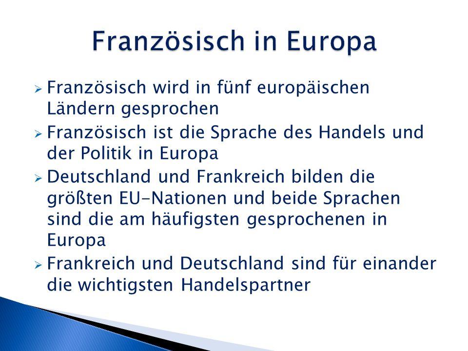 Französisch wird in fünf europäischen Ländern gesprochen Französisch ist die Sprache des Handels und der Politik in Europa Deutschland und Frankreich bilden die größten EU-Nationen und beide Sprachen sind die am häufigsten gesprochenen in Europa Frankreich und Deutschland sind für einander die wichtigsten Handelspartner