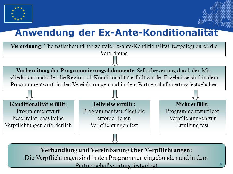 8 Anwendung der Ex-Ante-Konditionalität Verordnung: Thematische und horizontale Ex-ante-Konditionalität, festgelegt durch die Verordnung Vorbereitung der Programmierungsdokumente: Selbstbewertung durch den Mit- gliedsstaat und/oder die Region, ob Konditionalität erfüllt wurde.