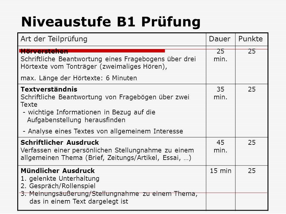 Niveaustufe B1 Prüfung Art der TeilprüfungDauerPunkte Hörverstehen Schriftliche Beantwortung eines Fragebogens über drei Hörtexte vom Tonträger (zweim